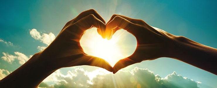 hart van handen voor de zon
